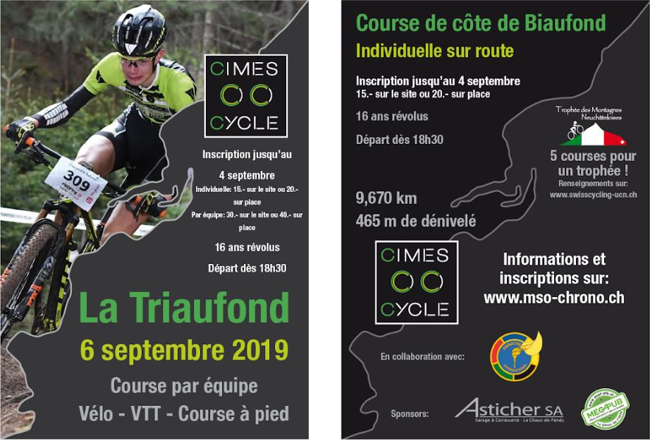 Temps Course Calendrier 2019.Triaufond Cimes Cycle